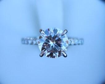 2.50 Carat Round Forever One Moissanite & Diamond Prongs Pave Band Engagement Ring 14k, 18k, Platinum, Anniversary Rings, 8.5mm Moissanite