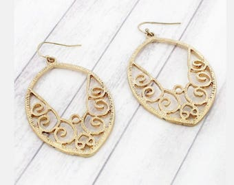 Gold Scroll Pointed Oval Earrings