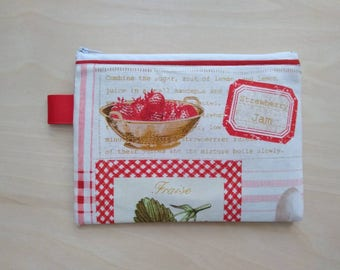 Strawberry Jam Retro Zippered Notions Pouch Coin Purse!