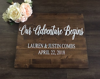 Our Adventure Begins Sign, Wedding Welcome Sign, Wedding Entrance Sign Rustic Wedding Decor, Country Wedding Photo Prop