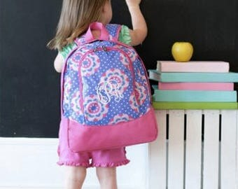 Monogrammed Zoey Toddler Backpack ~ Monogrammed preschool girls backpack ~ Back to school backpack