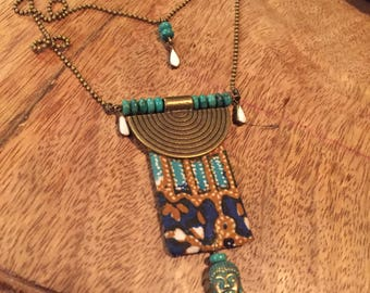 Batik and Turquoise ethnic necklace