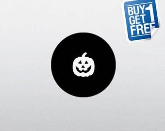 Pumpkin - Macbook Apple Decal Sticker / Laptop Decal / Apple Logo Cover / 2 for 1 price