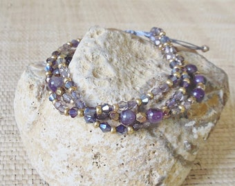 Amethyst Bracelet/3 Strand Bracelet/Purple Bracelet/Pull Tie Bracelet/Layering Bracelet/February Birthstone/Gift for Her/Vegan/Adjustable