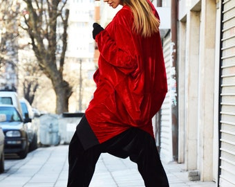 New Extravagant Maxi Asymmetric Red Hoodie, Oversize Loose Casual Tunic, Velvet Warm Hooded Sweatshirt by SSDfashion