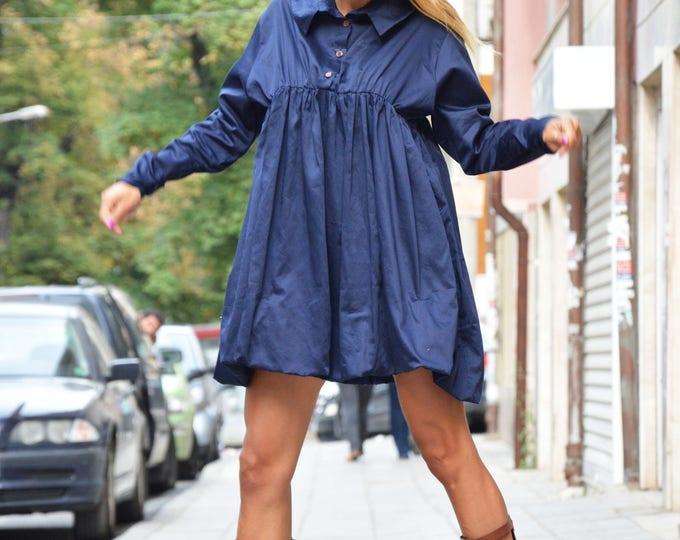 Dark Blue Extravagant Shirt, Maxi Cotton Shirt, Asymmetric Loose Shirt, Oversize New Collection by SSDfashion