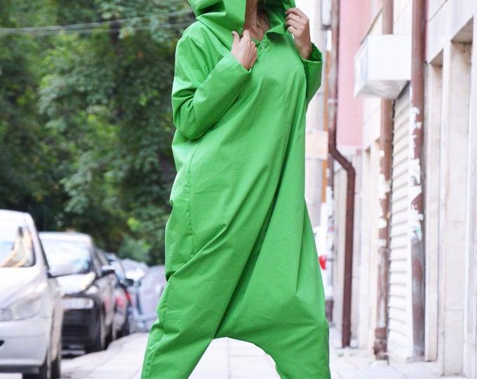 Maxi Hooded Jumpsuit, Plus Size Zipper Jumpsuit, Loose Casual Drop Crotch, Harem Green Cotton Jumpsuit by SSDfashion