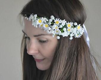 Daisy Flower Crown Fairy Crown Floral garland Wedding Tiara Bridal flowers Wedding Floral crown Hair Wreath Bridal floral crown LV12