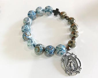 Blue agate classic single decade rosary prayer bracelet with Virgin Mary Miraculous Medal