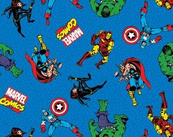 Marvel Comic Action Cotton Woven, Superhero Fabric, Marvel Avengers Fabric, Marvel Superhero Fabric, Marvel Material, Avengers Cotton Fabric