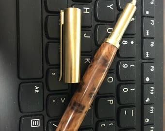 Brass Rollerball Pen Thuya Burl RAW Brass hardware hand turned Thuya wood barrel