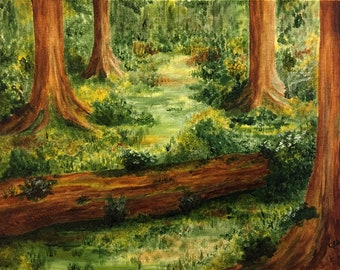 Original Painting Acrylics on Canvas, Art, Acrylic, Trees, Woods, Nature