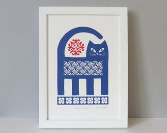 Cat Print, Cat Decor, Wall Art, Retro Cat Print, Vintage Cat Print, Screen Print, Retro Print, Mid Century, Screen Print by Fran Wood Design