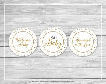 White and Gold Baby Shower Cupcake Toppers - Printable Baby Shower Cupcake Toppers - White and Gold Confetti Baby Shower - Toppers - SP149