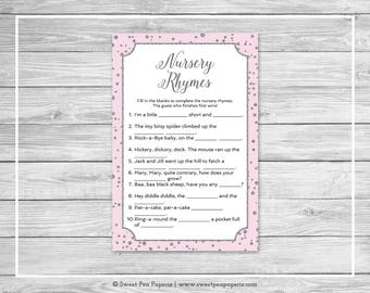 Pink and Silver Baby Shower Nursery Rhyme Game - Printable Baby Shower Nursery Rhyme Game - Pink and Silver Confetti Baby Shower - SP150