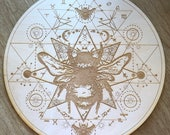 Crystal Grid - Honey Bee Sri Yantra - 6, 9  or 12 Inches - Wooden Crystal Grid - Animal Spirit - Totem - Sacred Geometry