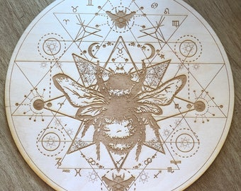 Crystal Grid - Honey Bee Sri Yantra - 6, 9  or 12 Inches - Wooden Crystal Grid - Animal Spirit - Totem - Sacred Geometry