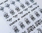 Cora - Craft Time | mid size monochrome character / action | Planner stickers