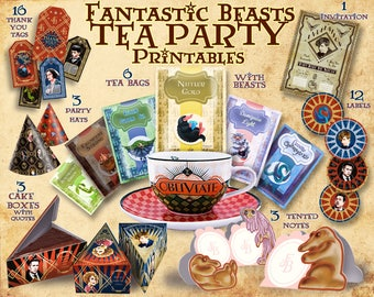 Fantastic Beasts Party Printables, Tea party, Invitation, Niffler, Harry Potter party, Fantastic beasts, Newt Scamander, party supplies