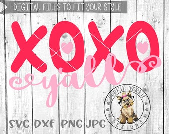 XOXO y'all, yall Heart -  svg/dxf/png/jpg Heart, Cricut, Studio Silhouette cut file - Cutable