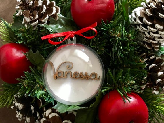Christmas Glass Balls Ornaments Personalised Christmas Bauble with Wooden Laser Cut Names Baby's First Christmas Tree Decoration Xmas Bauble
