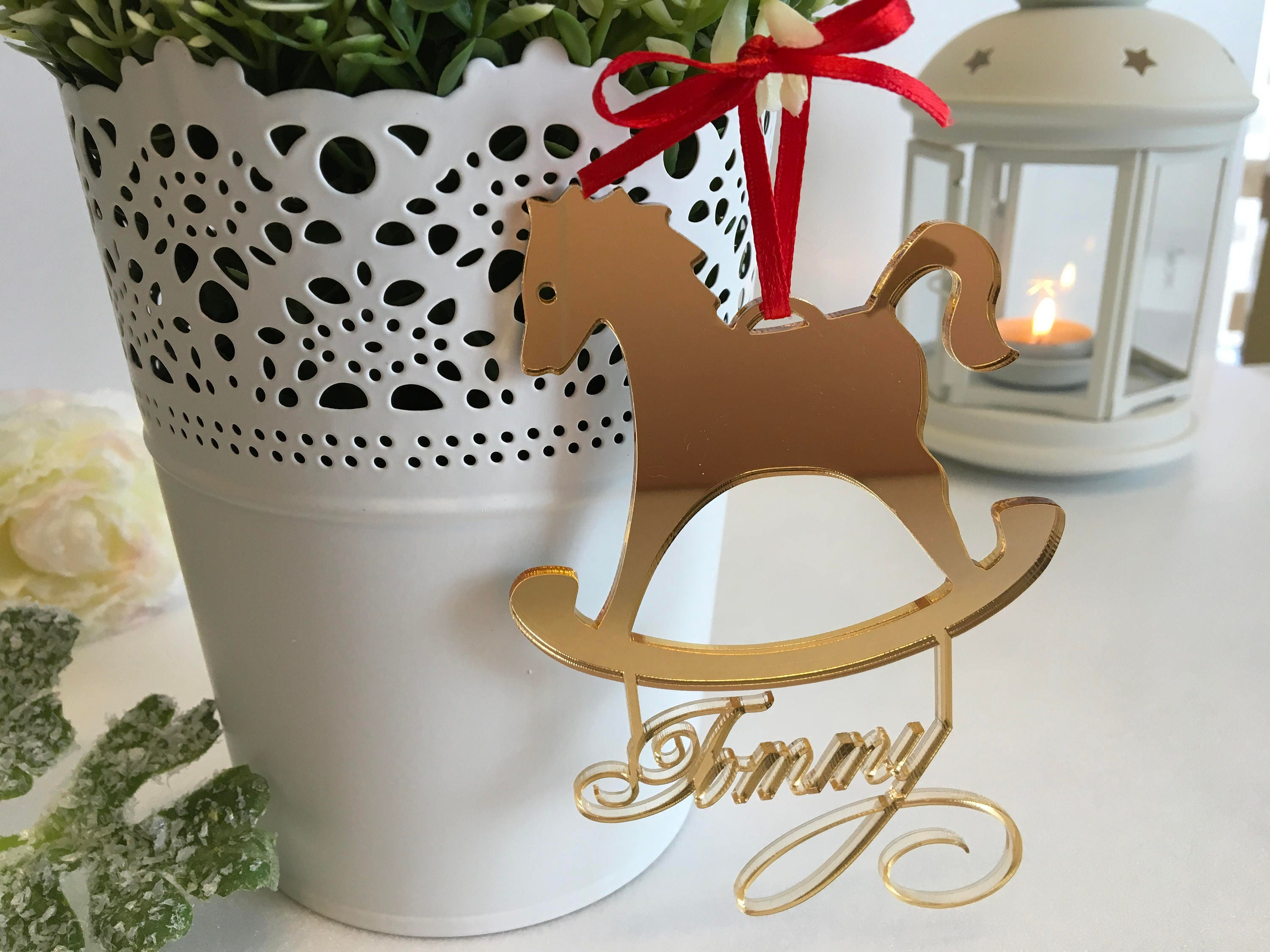 Personalized Gold Mirror Rocking Horse Ornament First Christmas Gift  Christmas Wood Horse Tree Ornament Custom Horse Christmas Gift For Kids