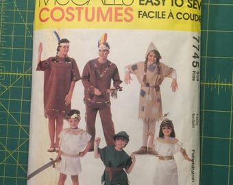 Cleopatra, Scarecrow, Peter Pan, Indian Squaw Brave Costume Sewing Pattern McCalls's 7745 Size Kids