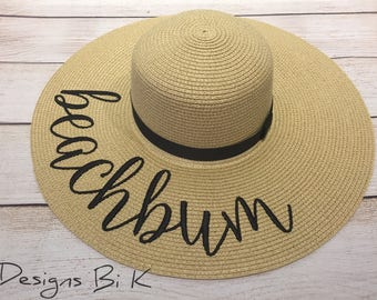 Beachbum hat, Personalized straw hat, Monogrammed beach hat, Custom beach hat, Embroidered floppy hat, Summer vacation hat, Gift for her