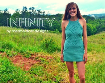 Crochet bodycon mini dress pattern with summer cables- Infinity