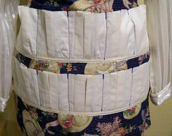 Egg Apron - Country Collectors farm apron/ blue and cream/ cotton/ with damage repair