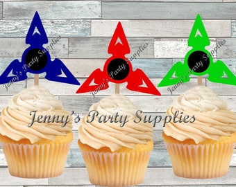 Set of 12 Fidget Toppers, Spinner Cupcake Toppers, Fidget Party Picks, Hand Spinner Cupcake Picks