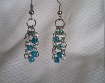 Handmade light blue glass bead earrings