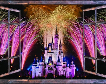 Window With A View Fireworks Over Disney Castle Wall Mural Brown Wooden  Window Frame Part 78
