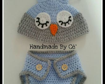All OWL and hat onesie - baby up to 3 months - crochet - mixed girl or boy birth gift