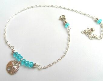 Sterling silver Anklet, Ankle bracelet, sand dollar anklet, sea anklet, aqua marine anklet, beach anklet, boho anklet