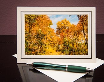 Fall Colors-Greeting Card-Notecard-Nature-Fall-Autumn-White-Matted Art Print-Photo-Art-Gift-Home Office Decor-Travel-Wisconsin-Yellow-Trees