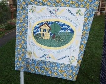 Wall hanging top- It's always home when Love is there!  TOP only!  Ready to quilt