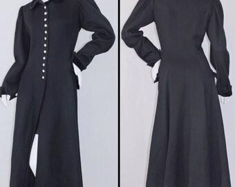 Vintage UNGARO PARALLELE PARIS Black w Velvet Medieval Goth Wool Coat Sz 6 S