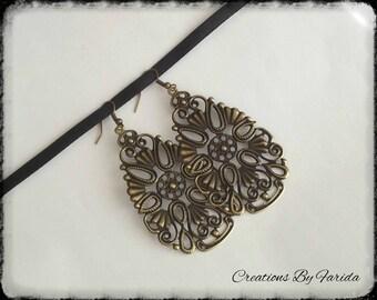 Color bronze Teardrop filigree earrings