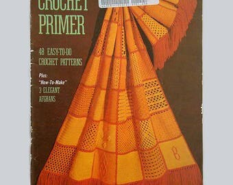 Afghan Crochet Primer 1972 Bucilla 48 Easy-To-Do Crochet Patterns Afghans Vol 64, vintage pattern book, instructional book