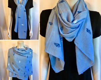 Blue Nautical scarf / Lightweight / Hand-Stamped / 100% Polyester