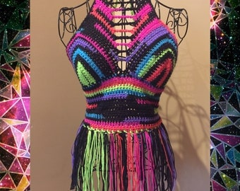 Premade neon crochet top with fringe! Best fits a 32-34 B-C