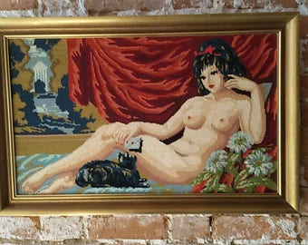 Framework tapestry woman naked/Vintage wall plate canvas 60s/70s / canvas naked / Naked pin-up