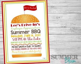 Summer BBQ Picnic Hamburger Invitation
