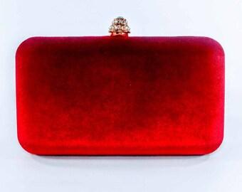Dark Red & Crystal Statement Clutch