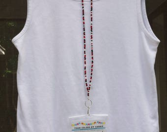 ID Badge Holder in 15 colors - ID Holder Neck Strap - Fancy Badge Lanyard Beaded - Pretty Lanyards - Id Card Chain - Teacher Lanyard