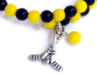 Ice Hockey Charm Bracelet - Hockey Mom Team Spirit Wear