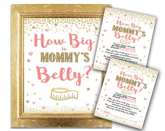 Baby Shower Game - How Big Is Mommy's Belly? - Coral and Pink Gold Shower Decor and Games - Party Instant Download Hearts Glitter Confettii