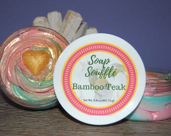 Soap Souffle - Whipped Soap - Bamboo Teak - Body Wash - Shaving Cream Soap - Fluffy Soap - Bath Frosting - Whipped Cream Soap - Gold Soap