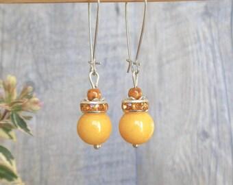 mustard earrings, yellow orange, trendy, rhinestone, silver, Czech Bohemian glass, Stud Earrings